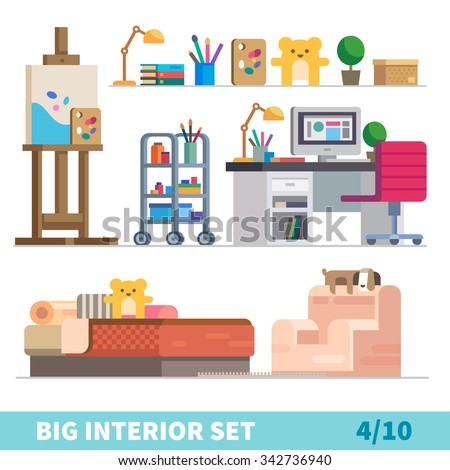 Big detailed Interior set. Cozy children room: art, easel, lamp, shelf with books and toy. Palette, plant, box. Computer table. Nice bed with bear toy. Comfortable armchair. Stock  flat vector set.  - stock vector