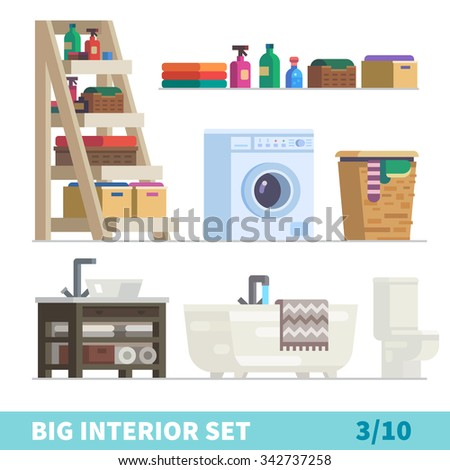 Big detailed Interior set. Functional and comfortable bathroom: shelf for laundry with cleaning stuff, shampoo, boxes, laundry basket, sink, bath, soft towel, toilet. Flat vector illustration set. - stock vector