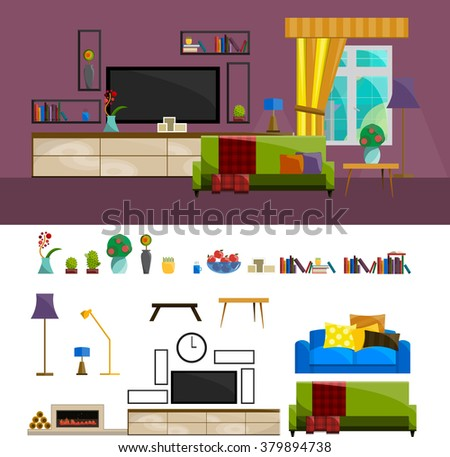 Big detailed Interior set/Living room: nice couch/lamp/coffee table/cactus/fireplace/firewood/flower vases/bookshelves/photo frame/coffee cup/television set/TV set/Home furniture.Interior design. - stock vector
