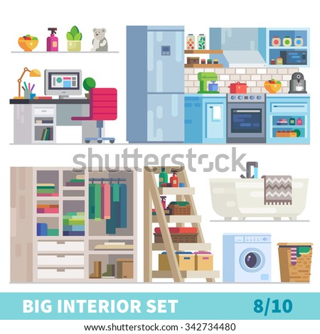 Big detailed Interior set. Mixed interiors: Workplace with computer, functional kitchen, wardrobe, laundry room with washing machine. Flat vector stock illustration,  - stock vector