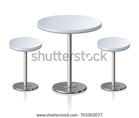 Big disk shape pale grey stylish 3d padded board and pews stand on one shiny foot on light background. Club rest trendy retro design. Closeup side view with space for text