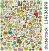 Big Doodle Icons Set : collection of numerous small hand-drawn illustrations (vignette) : No. 6 - stock vector