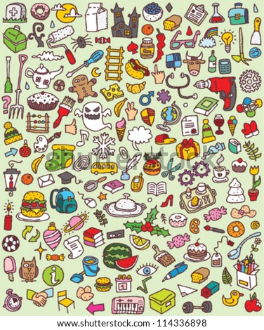 Big Doodle Icons Set : collection of numerous small hand-drawn illustrations (vignette) : No. 6