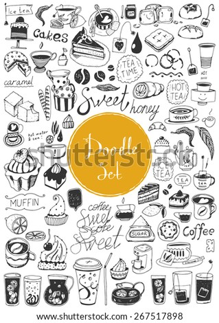 Big doodle set - Coffee, tea, bakery - stock vector