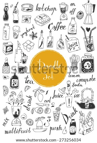 Big doodle set - coffee, tea, juice and other beverages - stock vector