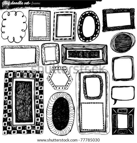 big doodle set - design elements - stock vector