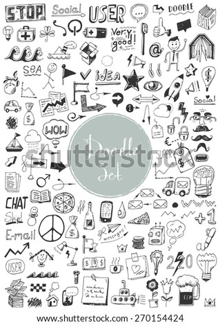 Big doodle set - Different objects and elements - stock vector