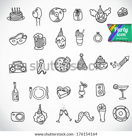 Big doodle set - holiday - stock vector