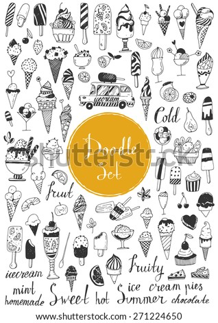 Big doodle set - Icecream - stock vector