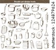 Big doodle set -  kitchen - stock vector