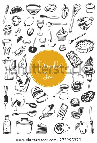 Big doodle set - Kitchen tools & food