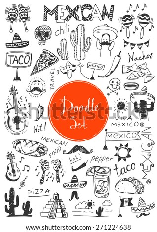 Big doodle set - Mexican - stock vector