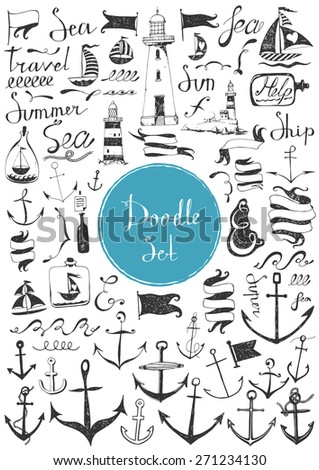 Big doodle set - Nautical - stock vector