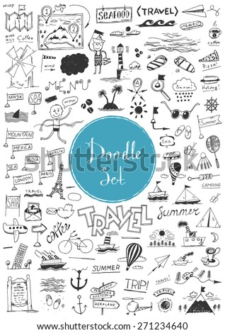 Big doodle set - Travel - stock vector