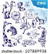 Big doodle zoo set - stock vector