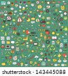 Big doodled web and mobile icons collection in colours. Small hand-drawn illustrations are isolated (group) and in eps8 vector mode. - stock vector