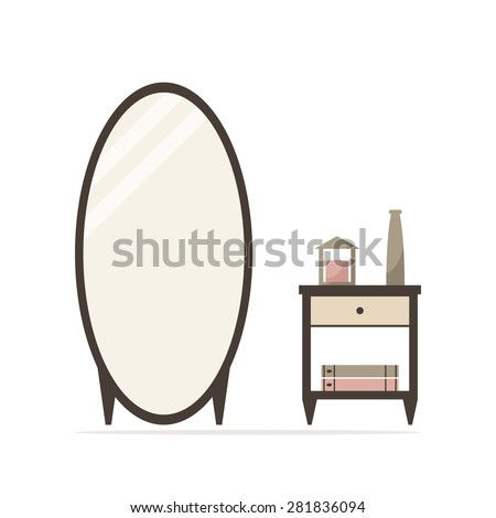Big dressing mirror with nightstand isolated icon. Bedside table with candle, vase and books. Classic bedroom furniture. Bedroom interior design. Flat style vector illustration.  - stock vector