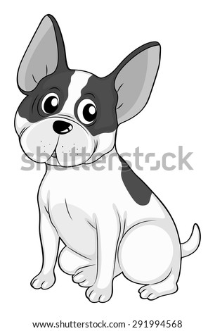 Big ears dog illustration in black and white - stock vector