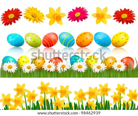 Big Easter set with traditional eggs and  flowers. Vector.