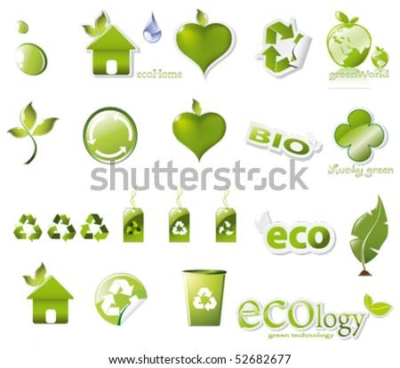 big eco set - stock vector