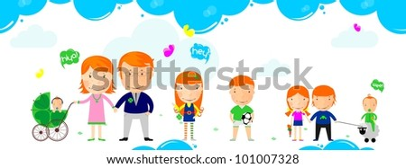 Big family - stock vector