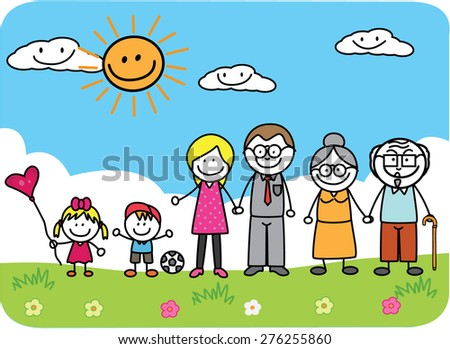 Big Family at Park - stock vector