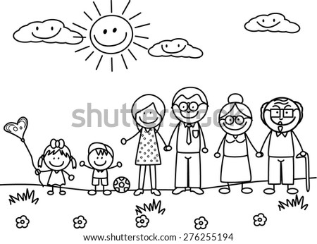 Big Family black and white - stock vector
