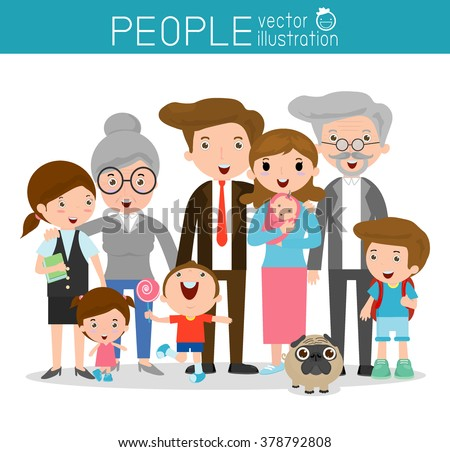 big family,family and children ,family and kids, family life, set of Happy family, family, mother, father, girl, boy, Vector Illustration - stock vector