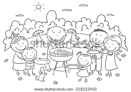 Big family having picnic outdoors, black and white