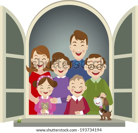 Big family - Illustration - stock vector