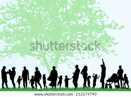 Big family silhouettes - stock vector