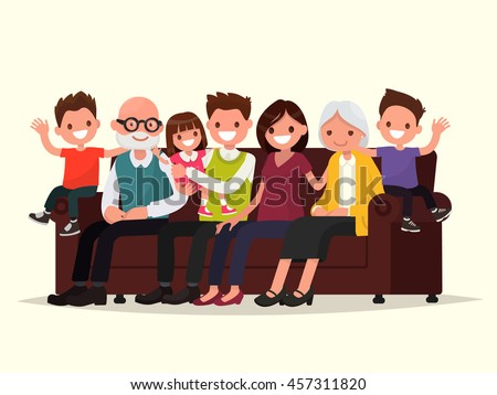Big family sitting on the sofa. Grandfather, grandmother, father, mother and children. Vector illustration of a flat design - stock vector