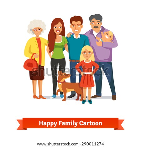 Big family standing together with happy smiles. Father, mother, doughter, baby, grandmother, grandfather and dog. Grandparents and their grandchildren. Flat style vector illustration. - stock vector