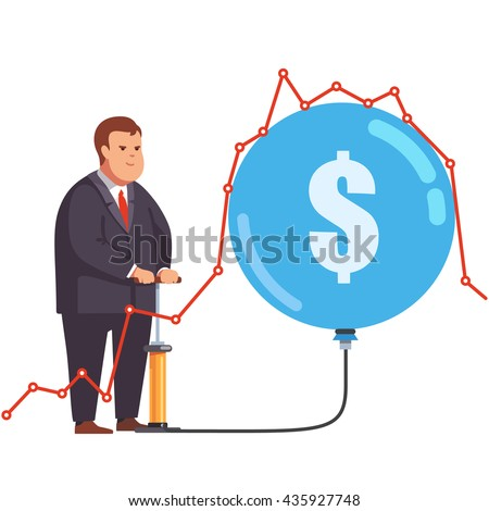 Big fat and greedy corporation business man pumping up a stock market bubble under a line chart graph. Market manipulation and fraud concept. Flat style vector illustration clipart. - stock vector