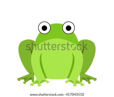Big fat green frog in flat style , vector