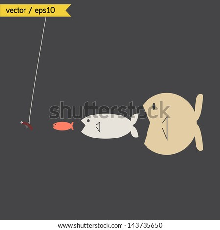 Big fish conceptual. vector. eps10 - stock vector