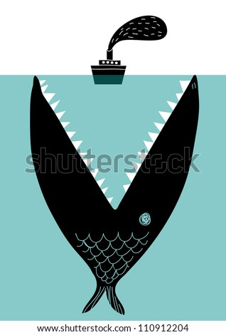 big fish devouring a ship - stock vector