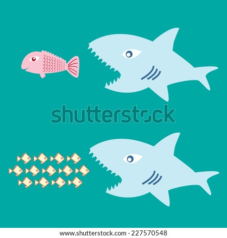 big fish eat little fish - stock vector