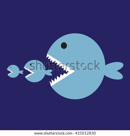 Big fish eat little fish - stock vector