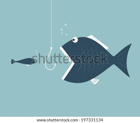 Big fish eat little fish. Concept of Saving oneself. - stock vector