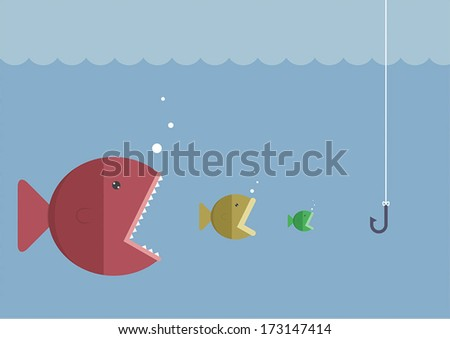 Big fish eat little fish, VECTOR, EPS10 - stock vector