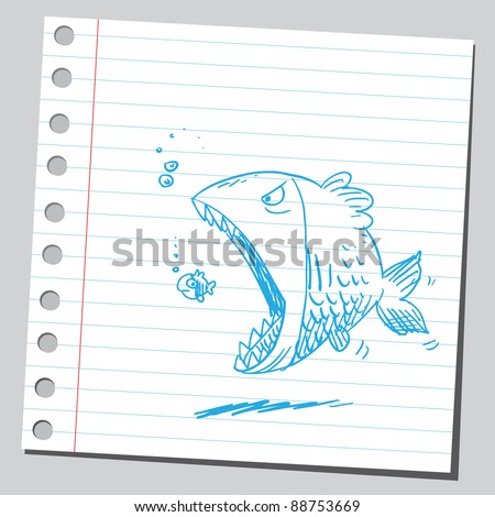 Big fish eating small one - stock vector