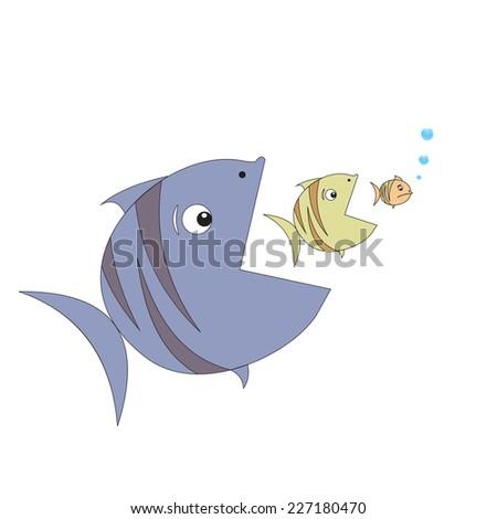 Big fish eats little fish. Vector. - stock vector