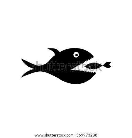 Big fish icon. Simple black vector symbol. Logo for web. Image for business. - stock vector