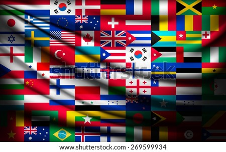 Big flag background made of world country flags. Vector. - stock vector