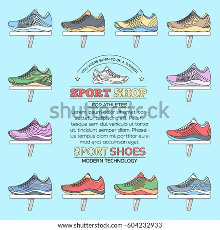 big flat illustration collection set of sneakers running, walking, shopping, style backgrounds. Vector thin lines concept elements icons. Colorful template for you design, poster, web and mobile