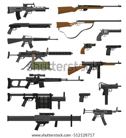 Big flat set of various weapons guns pistols and rifles isolated on white background vector illustration