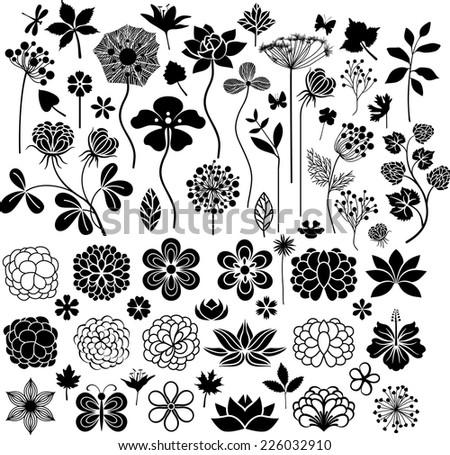 Big floral collection - stock vector