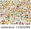 Big Food and Kitchen Collection - stock vector