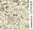Big food mix seamless pattern - stock vector